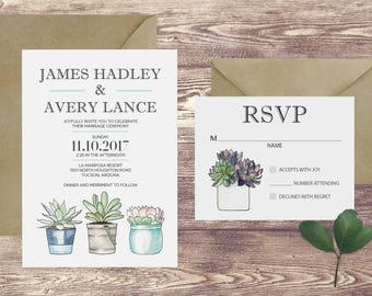 The Tuscon Wedding Invitation and RSVP Set, Succulent Wedding Invitations, Wedding Invitations with Succulents, Boho Wedding Invitation