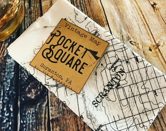 Pocket Square - Vintage Map of Scranton or Clarks Summit