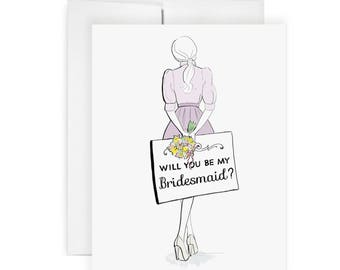 Bridesmaid Note  - Greeting Card, Fashion Illustration, Bridesmaid Card, Wedding Card, Art Card