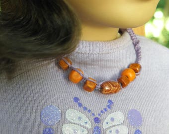 Doll's macrame necklace with lilac hemp, wood beads: Can be purchased as a mother/daughter/doll set