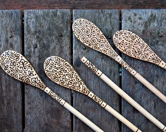 Wood-burned wooden spoon