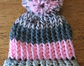 BBH47 pink and gray pom pom hat