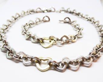 Tiffany & Company 18KT Gold and Sterling Interlocking Hearts Necklace Bracelt Set Demi Parure