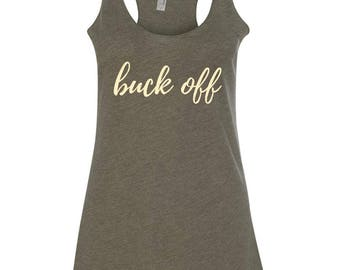Buck Off Vintage Green and Cream Tank Top, Horse Riding Tank Top, Equestrian Shirts