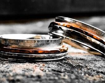 Silver Fidget Ring ~ Silver Spinner Ring with Silver and Copper Spinner ~ Silver Anxiety Ring ~ Silver Spinning Ring ~Silver Meditation Ring