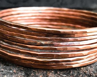 Simple Copper Bangles. Copper Bracelets. Thin Bangle Bracelets.  Skinny Bangles.  Stacking Bangles