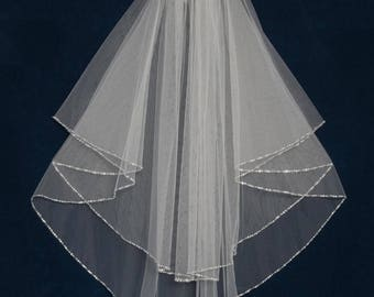 Two Layer Circular Cut Beaded Edge Fingertip Length Wedding Veil