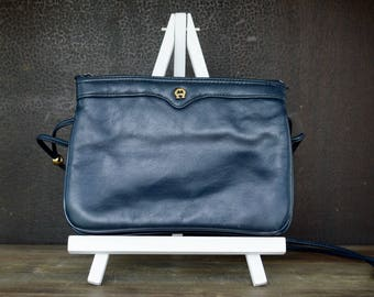 Vintage Etienne Aigner Small Leather Purse, Cross Body Shoulder Bag, Navy Blue Leather Purse, 80s Leather Purse, Soft Leather Purse