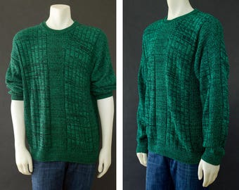 Vintage Men's Sweater, Cotton Knit Sweater, 90s Green Black Oversized Sweater, Comfortable Sweater, St Pattys Day Sweater, Men's Size XL