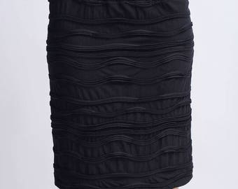 Black textured skirt chic cocktail party top