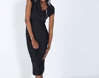 Original black stretch dress sleeveless, chic asymmetrical
