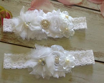Couture white country lace bridal garter set-wedding,bride