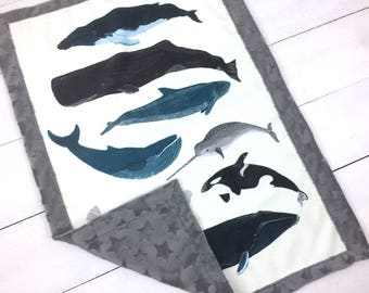 Whales Baby Lovey blanket, security blanket, gray Minky lovey blanket, whale orca narval blanket