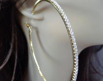 Large 3.75 inch Hoop Earrings Classic Thin Rhinestone Crystal Hoop Earrings Gold tone HOOPS