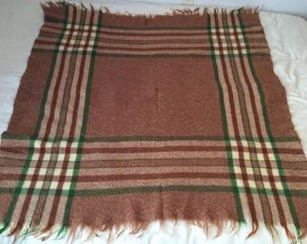 "Vintage Wool Blanket Fringe Picnic Throw Brown Green Plaid 56""x50"""