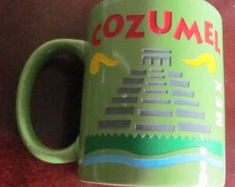 Handmade Ceramic Collectible Pottery COZUMEL Lime Green Novelty Mug - Mexico