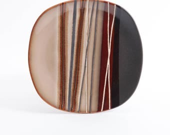 "Better Homes And Gardens ""Bazaar Brown"" Stripes Collectible Side Salad Dinnerware Plate"