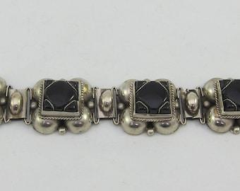 Vintage Link Bracelet from Mexico w. Black Onyx and Alpaca
