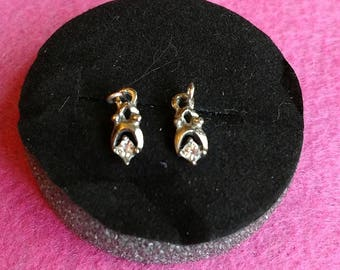 RARE Vintage Barbie 1962 CLEINMAN & SONS Clear Rhinestone Earrings... Mint!!
