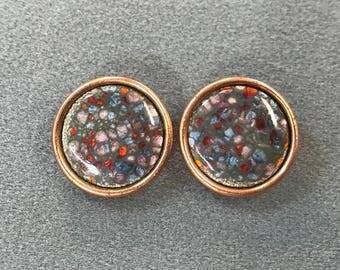 Matisse Renoir Mid Century Copper Enamel Clip Earrings. Free shipping.