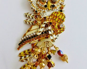 Never Worn Lunch At The Ritz Articulating Owl Brooch /Pendant Combo