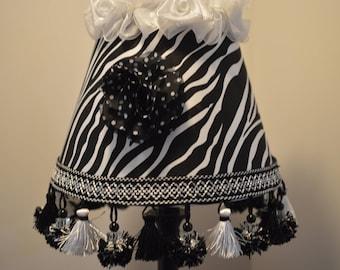 Zebra Lamp Shade Original SHADY LADY SHADES By Alice Beaded Trim