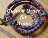 Custome Order Multi-colored Cord Bracelet Wrap with Charms