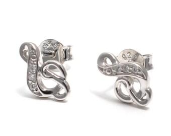 Zirkoniabesetzte treble clef earrings 925 sterling silver