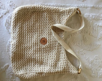 Crochet cream handbag/desert chic handbag/crochet purse/slouchy purse/spring handbag/shoulder bag/neutral accessory