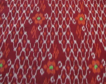 Cotton Ikat Fabric, dark crimson, gray, orange, light green; yardage
