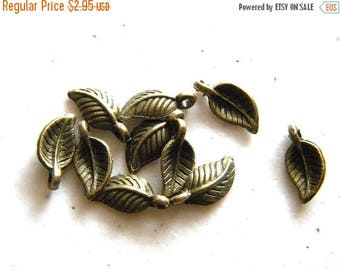HALF PRICE 10 Small Bronze Leaf Charms - 14mm