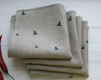 Birds linen napkins, set of 8. Natural linen napkins. Tea napkins. Easter gift. Blue green birds napkins. Scandinavian fabric