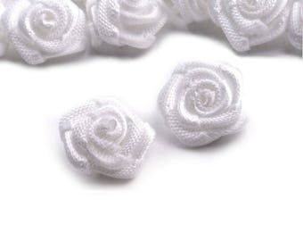 10 small pink white satin flowers 15 mm