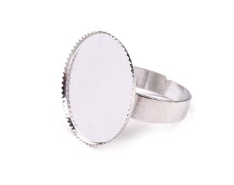 Base in silver for creating ring 20 mm