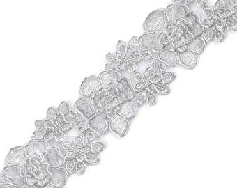 6 cm lace embroidery 510503 silver lurex Ribbon