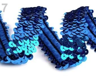 30 mm elastic blue sequins sequins lace