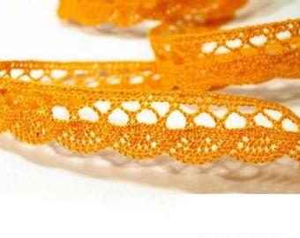6071 orange 18 mm Ribbon yellow cotton lace trim