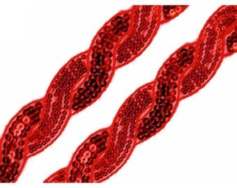 Red sequins 30 mm braid trim