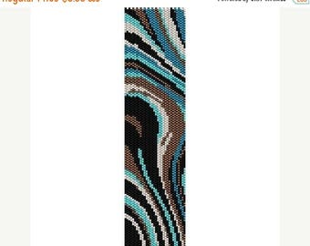 SALE HALF PRICE off Instant Download Beading Pattern Peyote Stitch Bracelet Turquoise Waves Seed Bead Cuff