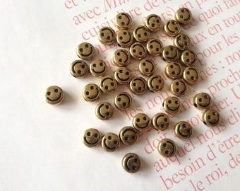 10pcs 6mm smiley acrylic beads antique gold