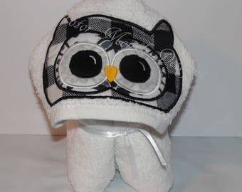 Owl Hooded Peeker Towel - Birthday Gift - Summer Beach Towel