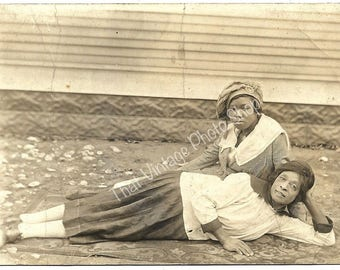 Vintage Photograph, RPPC African American Mother and Daughter