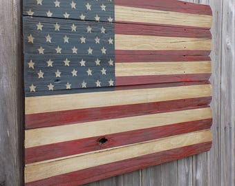 Rustic Wooden American Flag, 23 X 36 inches. Made from recycled fencing. Free Shipping A