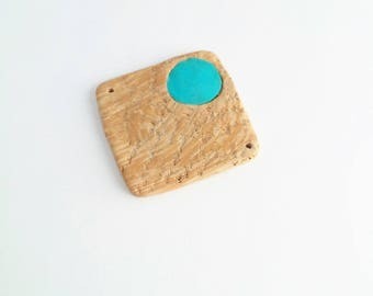 Beige and blue square bead with polymer clay