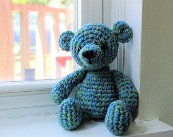 RTS Green and BlueTeddy Bear, Crochet Photo Prop, Baby Girl Shower Gift, Amigurumi Bear, Stuffed Animal, Ready to Ship, Stuffy