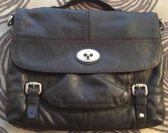 Vintage Fossil Leather Laptop Bag Workbag Briefcase Leather Black