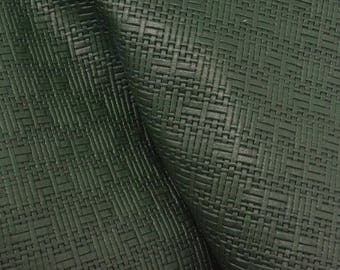 "Royal Green Basket weave Embossed Leather Cow Hide 12"" x 12"" Pre-cut 1-1 1/2 oz -35 DE-66183 (Sec. 5,Shelf 5,B)"