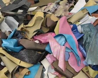 Leather Scrap Fashion Calf/Cow Hide 1 pound Various Colors and Textures DE-66213