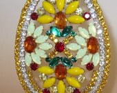 XL Rhinestone Easter Egg Vintage Decoration Czechoslovakia #L7