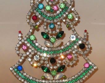 Czech Rhinestones Vintage Tabletop Christmas Tree